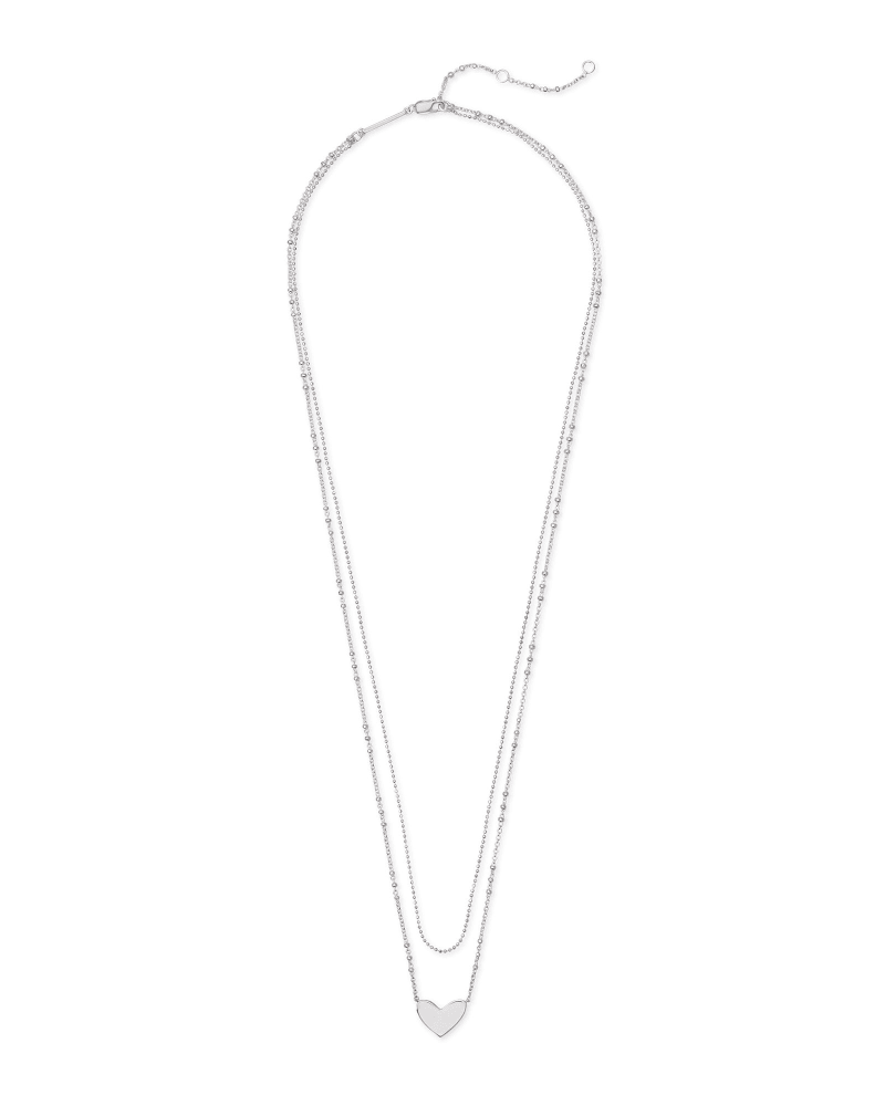 Ari Heart Multi Strand Necklace in Sterling Silver