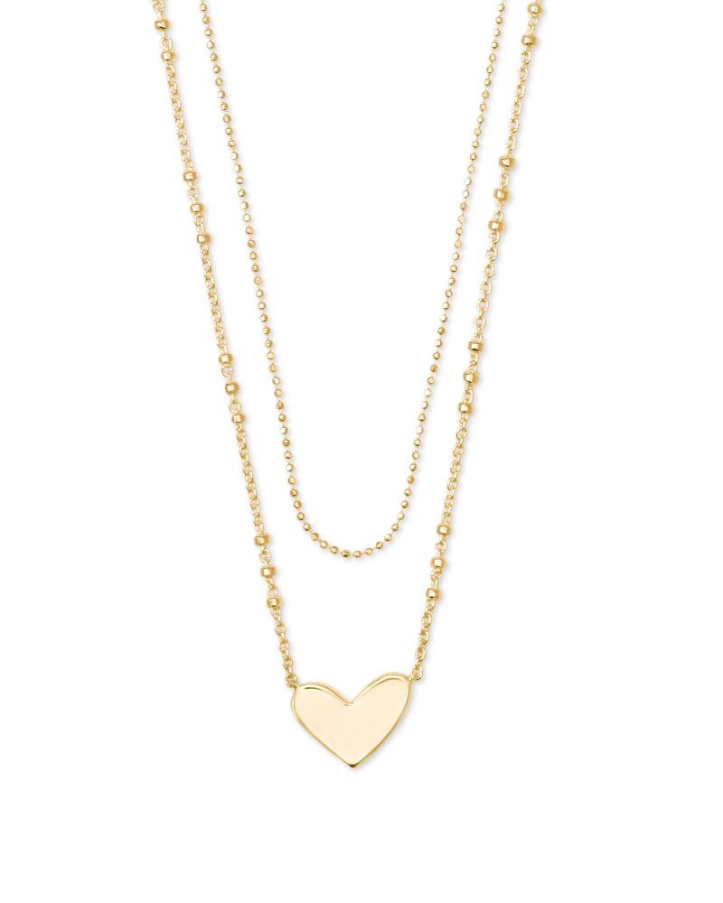 Ari Heart Multi Strand Necklace in 18k Yellow Gold Vermeil