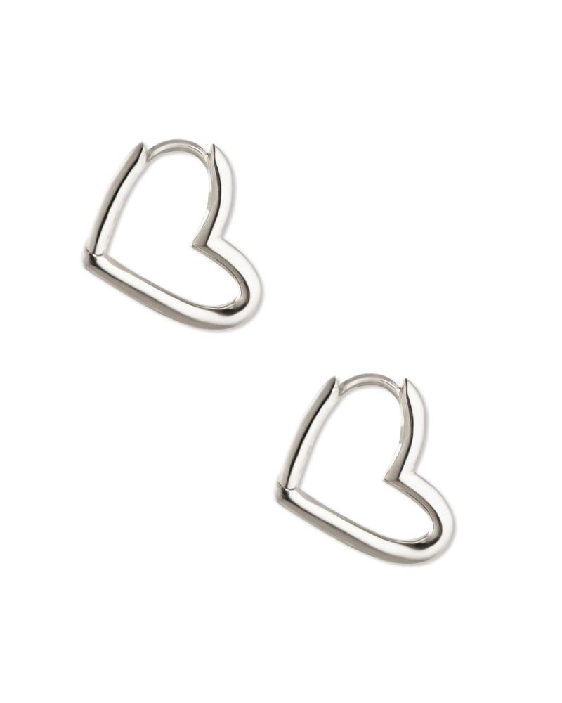 Ari Heart Hoop Earrings in Sterling Silver
