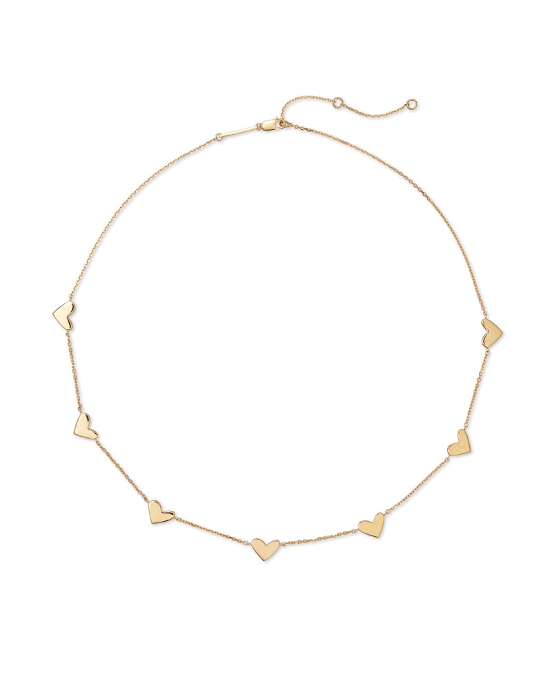 Ari Heart Strand Necklace in 18k Yellow Gold Vermeil