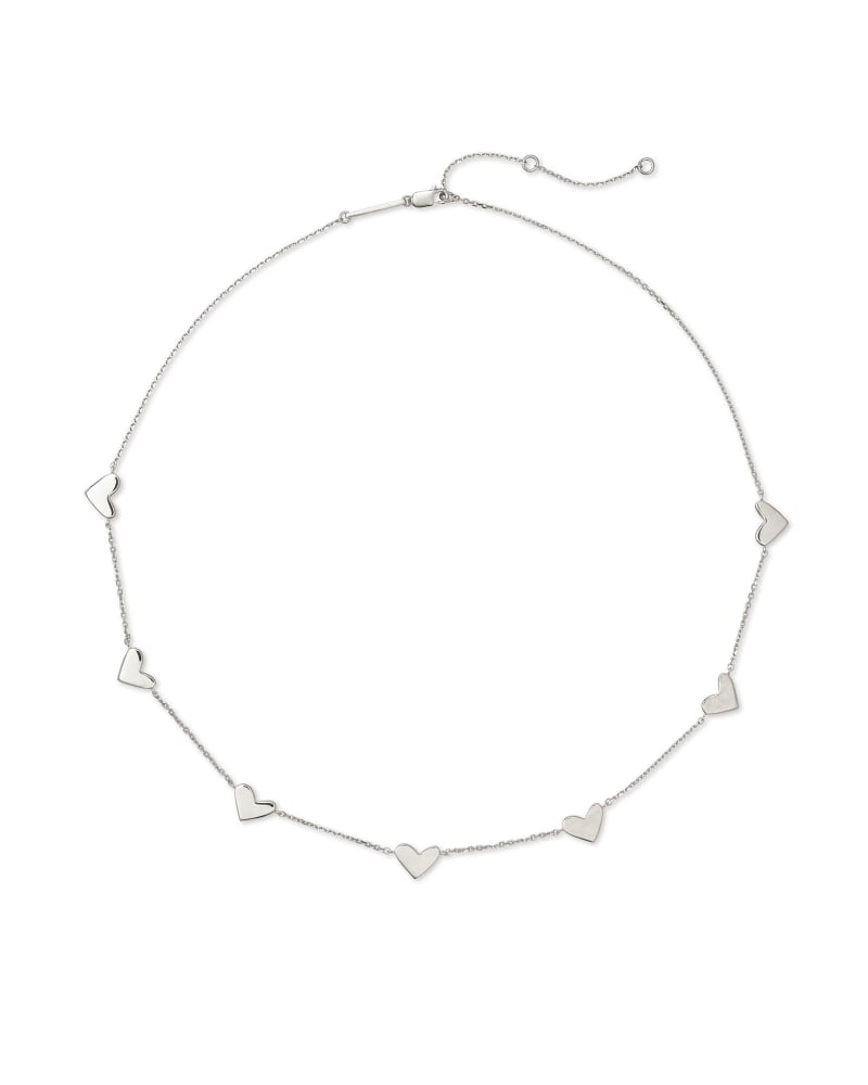 Ari Heart Strand Necklace in Sterling Silver