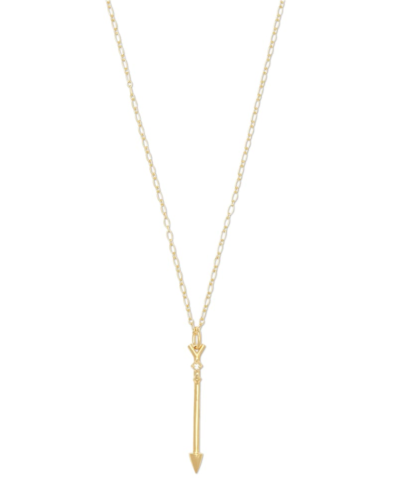 Zoey Arrow 18k Yellow Gold Vermeil Long Pendant Necklace in White Diamond