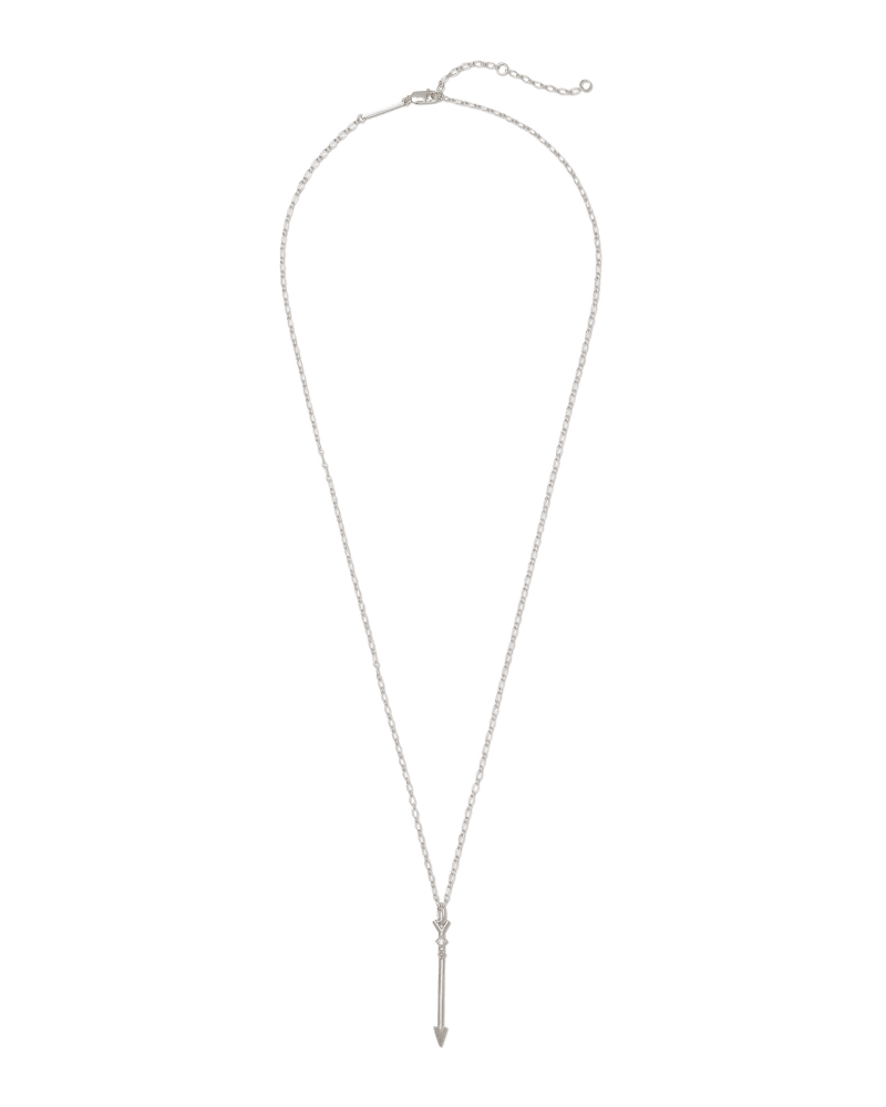 Zoey Arrow Sterling Silver Long Pendant Necklace in White Diamond