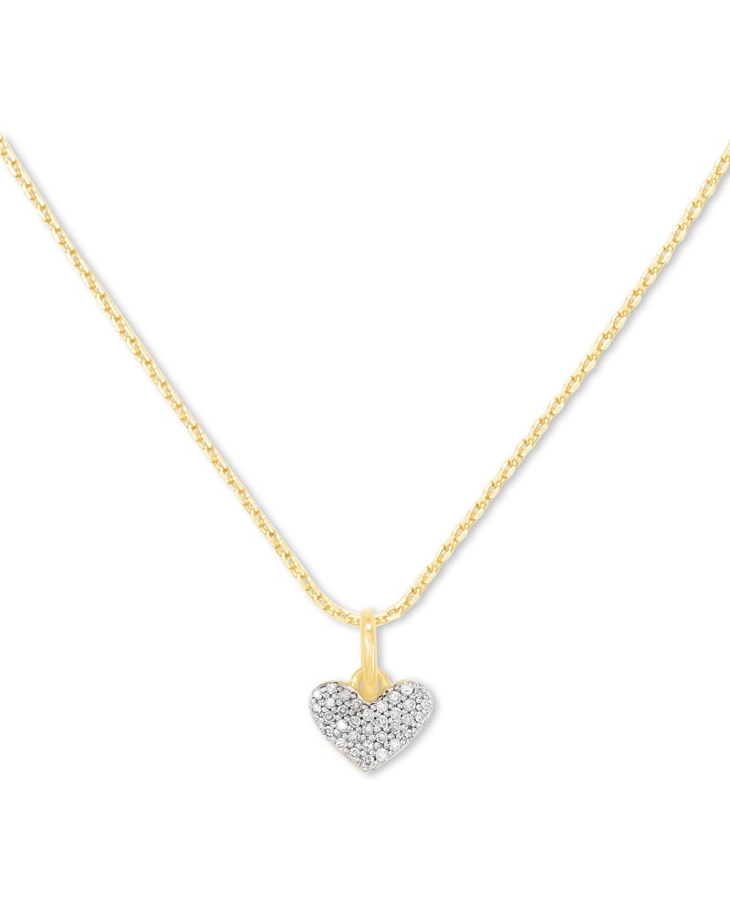 Ari Pave Heart Charm Necklace in 18k Yellow Gold Vermeil