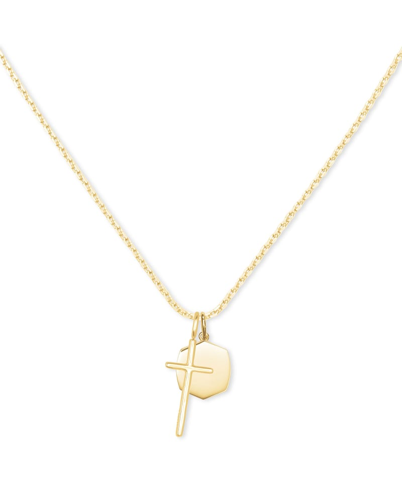 Davis Cross Charm Necklace in 18k Yellow Gold Vermeil