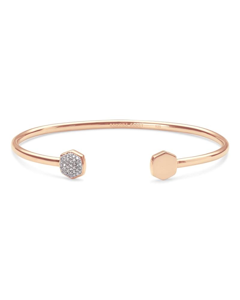 Davis 18k Rose Gold Vermeil Cuff Bracelet in White Diamond