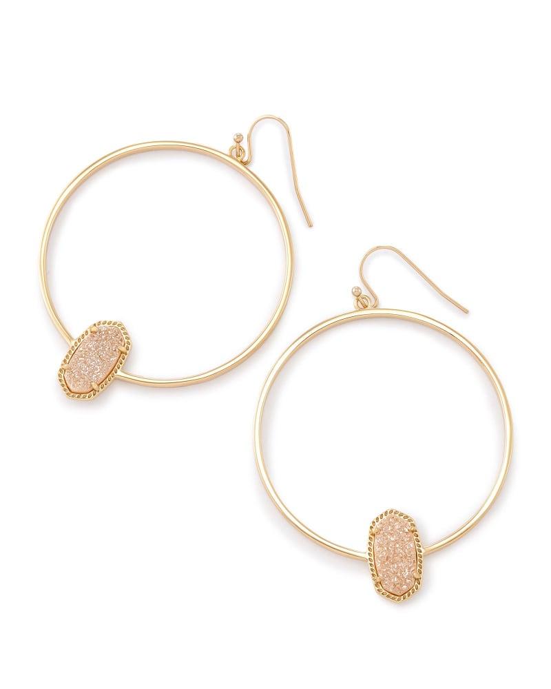 Elora Hoop Earrings in Sand Drusy