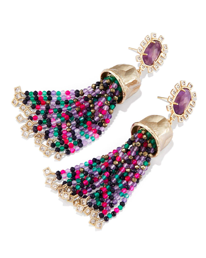 Decker Statement Earrings in Amethyst Mix