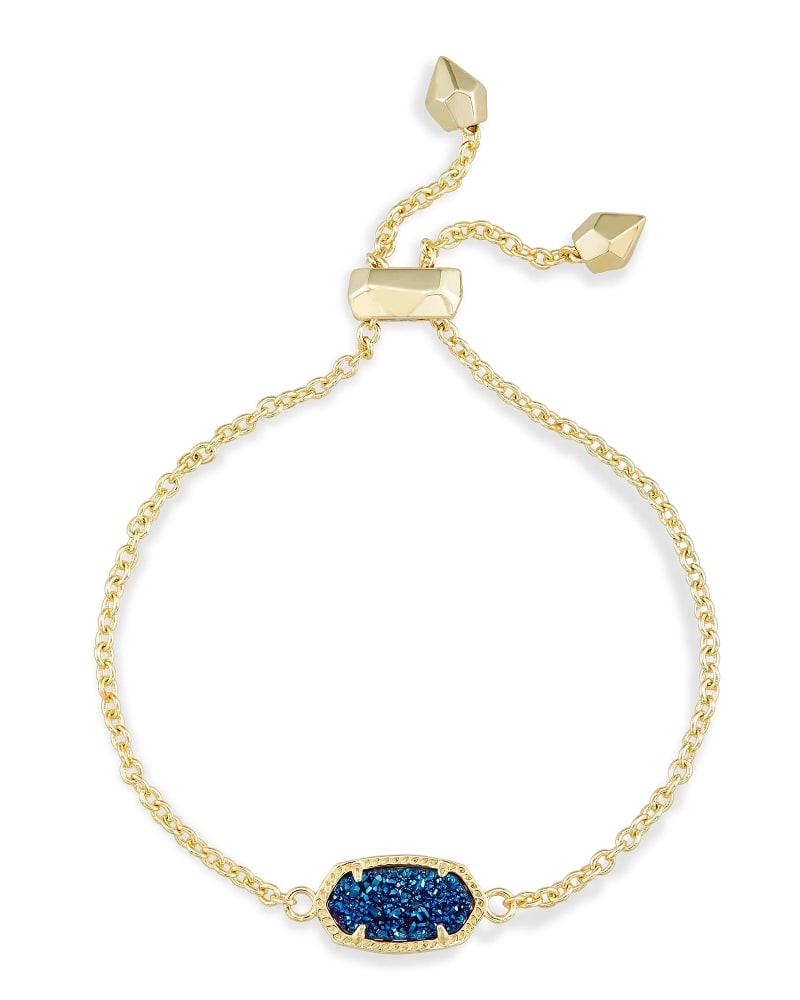 Elaina Adjustable Chain Bracelet in Blue Drusy