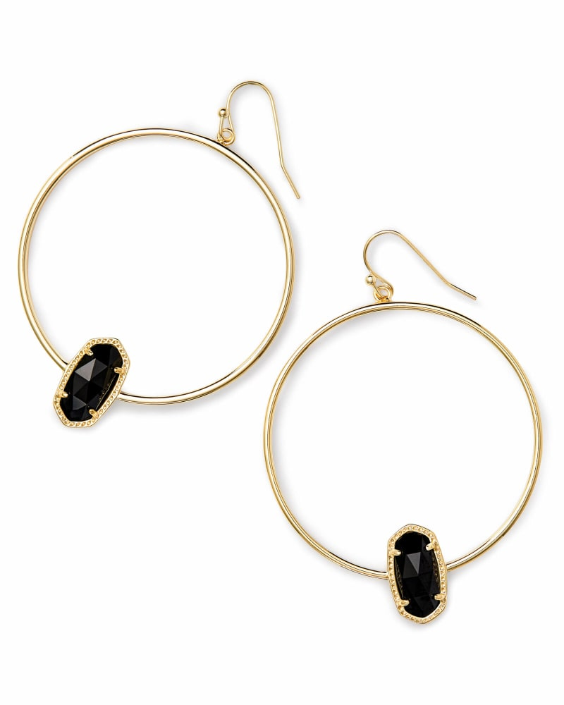 Elora Gold Hoop Earring in Black