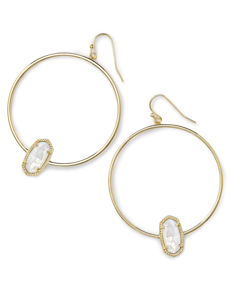 Elora Gold Hoop Earrings in Ivory Mother-of-Pearl
