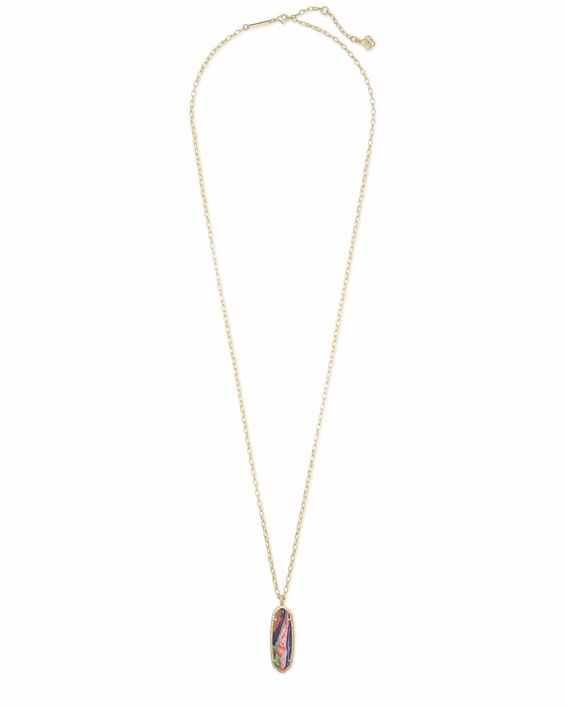 NWOT Kendra Scott Layle Pink Rainbow Calsilica Necklace Gold Tone