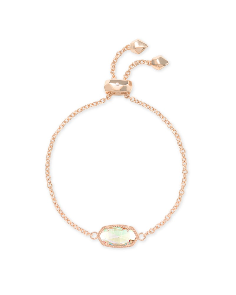 Elaina Rose Gold Adjustable Chain Bracelet in Dichroic Glass
