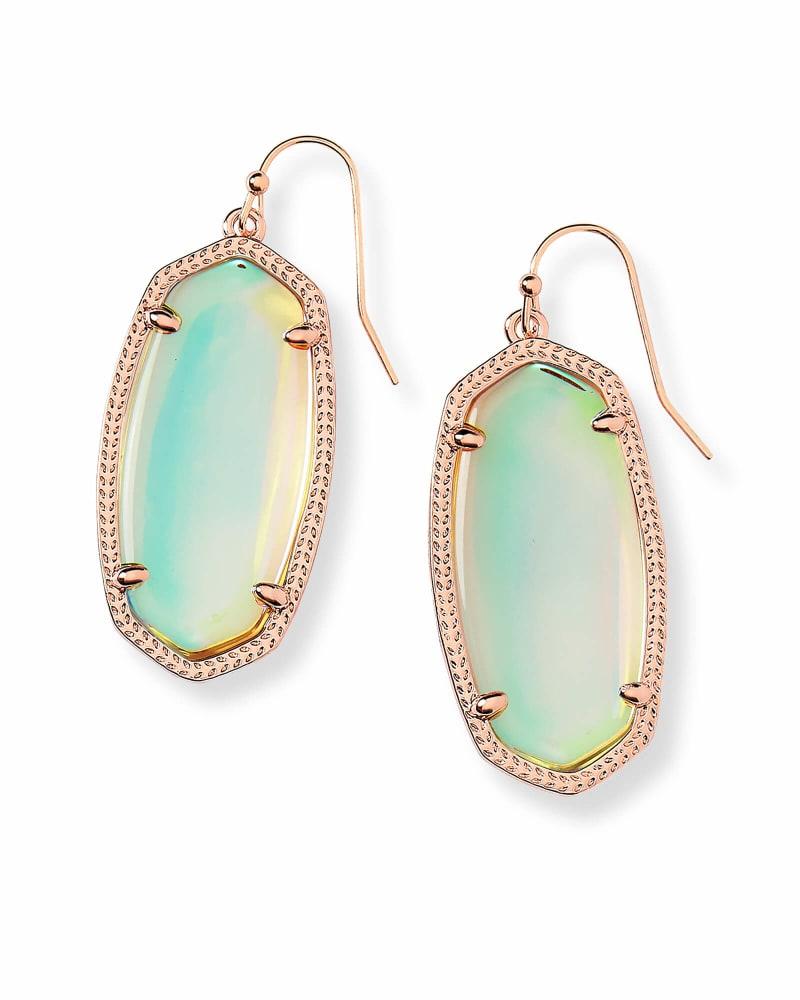 Elle Rose Gold Drop Earrings in Dichroic Glass