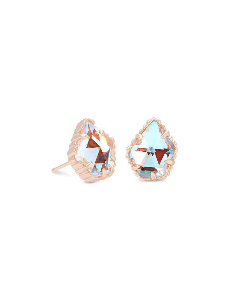 Tessa Rose Gold Stud Earrings in Dichroic Glass