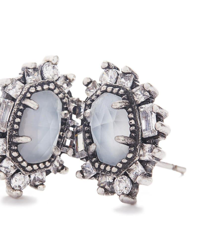 Kaia Stud Earrings in Antique Silver
