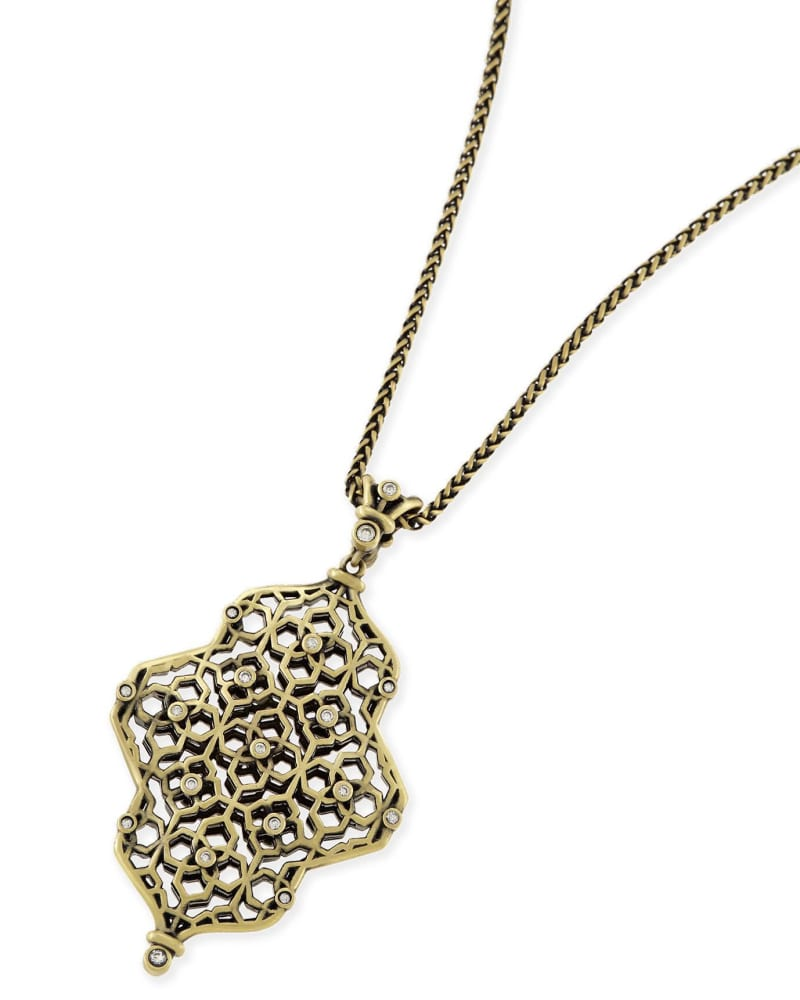 Kathy Long Necklace in Antique Brass