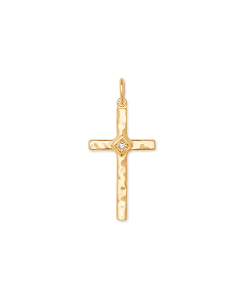 Accented Cross 18k Gold Vermeil Charm in White Sapphire