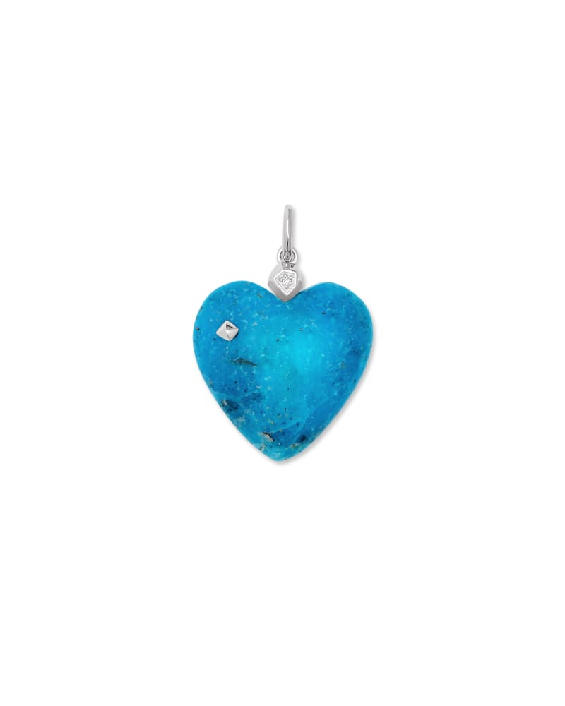 Angie Genuine Turquoise Carved Heart Charm in Sterling Silver