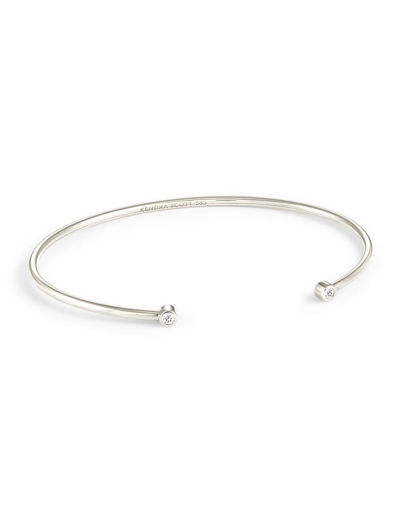 Audrey 14K White Gold Cuff Bracelet in White Diamond
