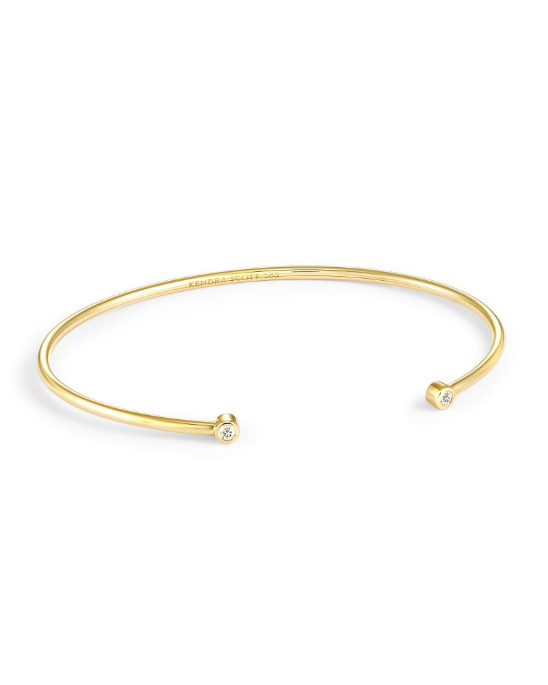 Audrey 14k Yellow Gold Cuff Bracelet in White Diamond
