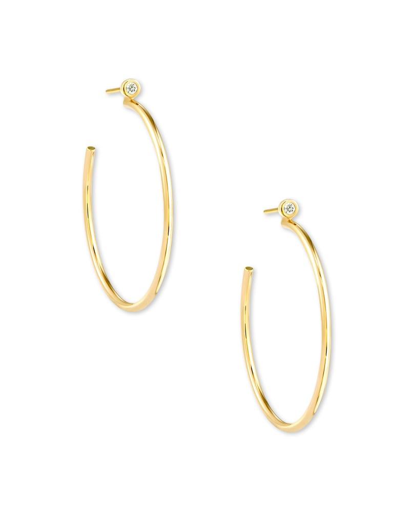 Audrey 14k Yellow Gold Hoop Earrings in White Diamond