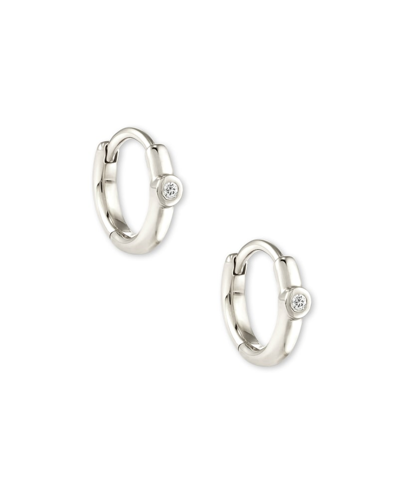 Audrey 14K White Gold Huggie Earrings in White Diamond