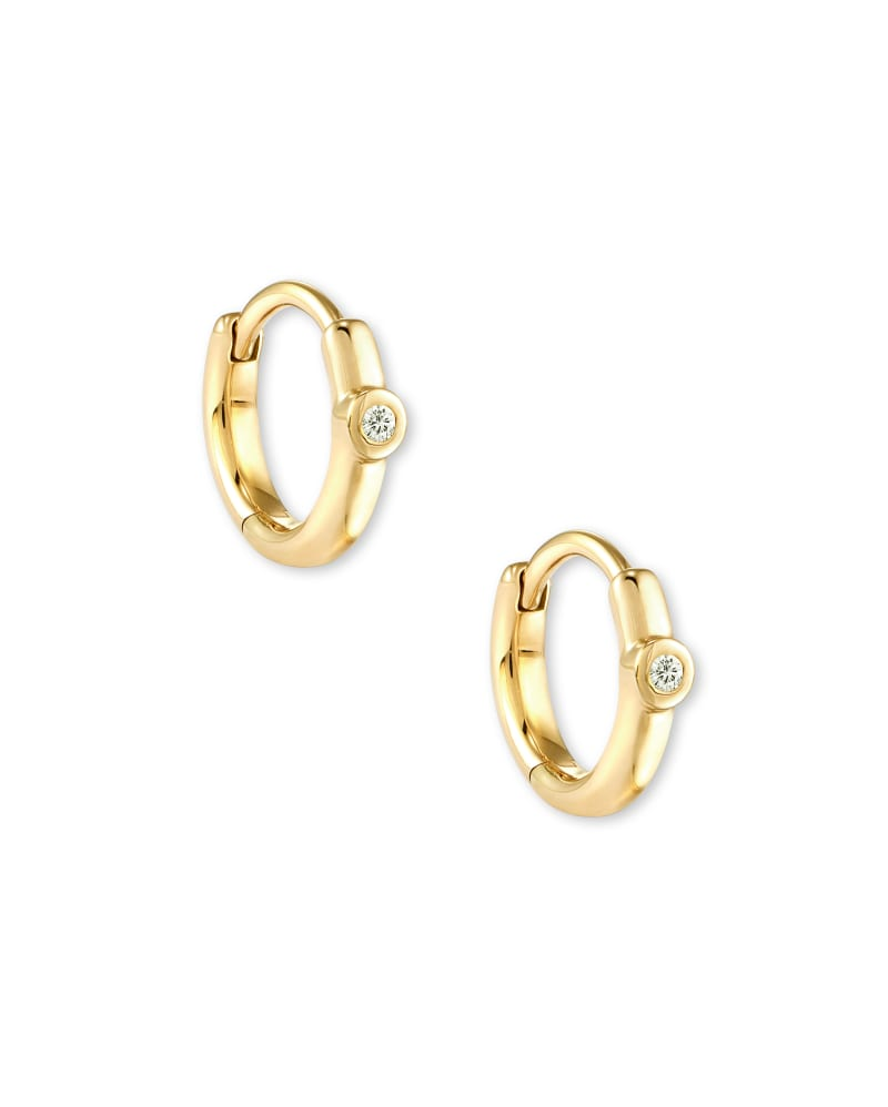 Audrey 14K Yellow Gold Huggie Earrings in White Diamond