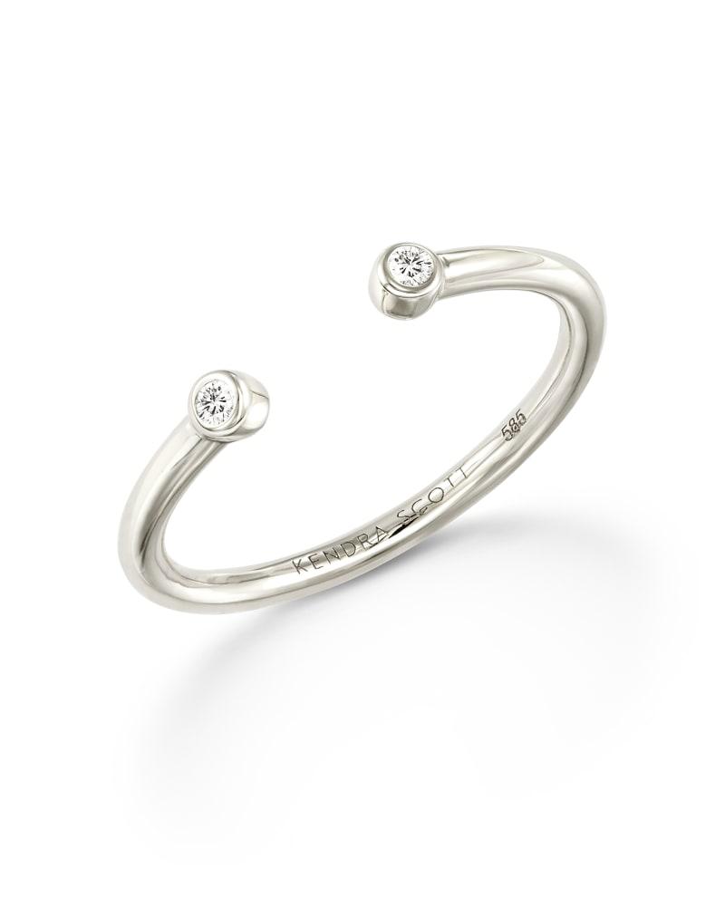 Audrey 14K White Gold Open Ring in White Diamond