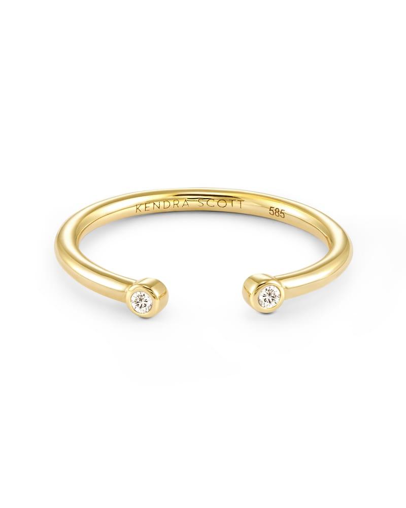 Audrey 14K Yellow Gold Open Ring in White Diamond