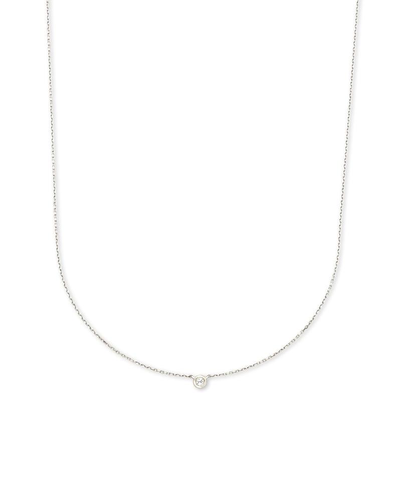 Audrey 14K White Gold Pendant Necklace in White Diamond