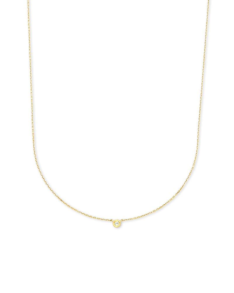 Audrey 14K Yellow Gold Pendant Necklace in White Diamond