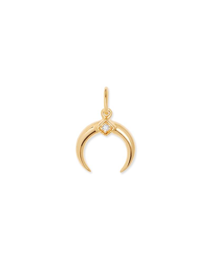 Crescent Horn 18K Gold Vermeil Charm in White Diamond