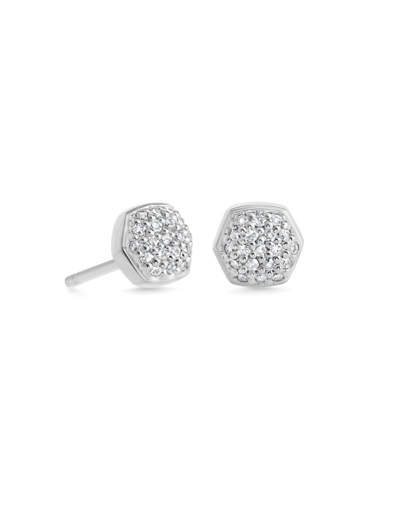 Davie 18K Sterling Silver Pave Stud Earrings in White Diamond