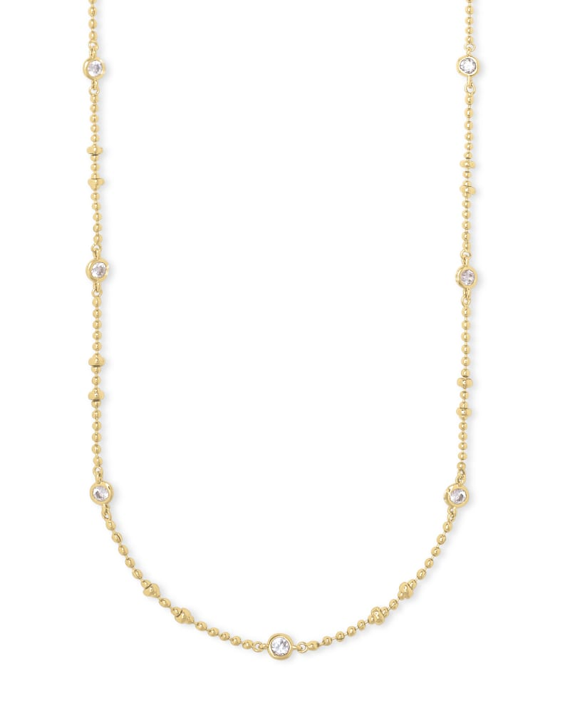 Delilah Crystal Chain Necklace in Gold