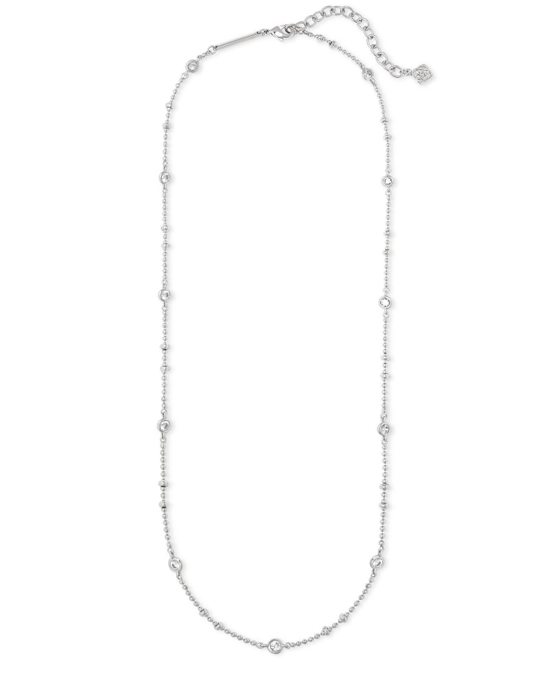 Delilah Crystal Chain Necklace in Silver