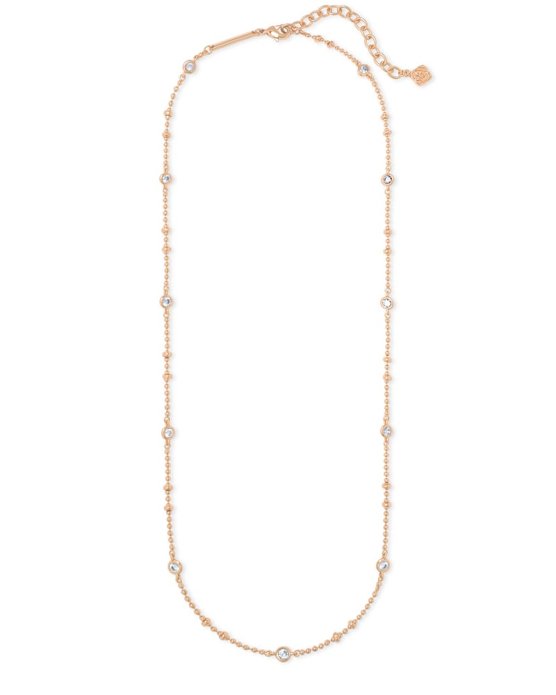 Delilah Crystal Chain Necklace in Rose Gold