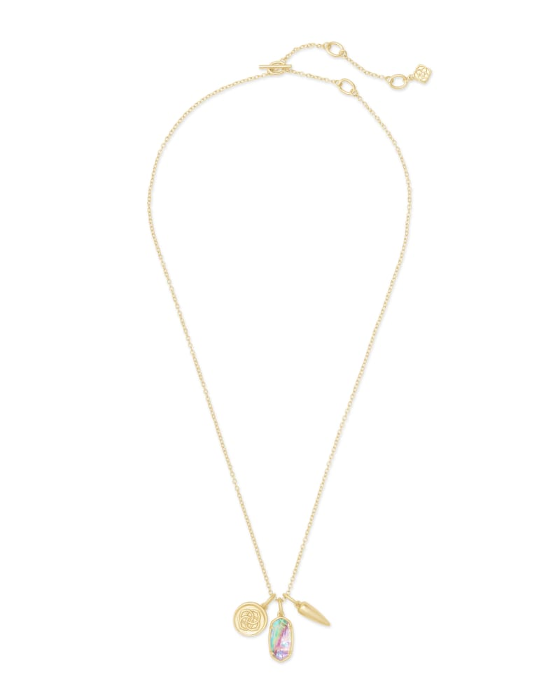 Dira Gold Coin Charm Necklace in Lilac Abalone