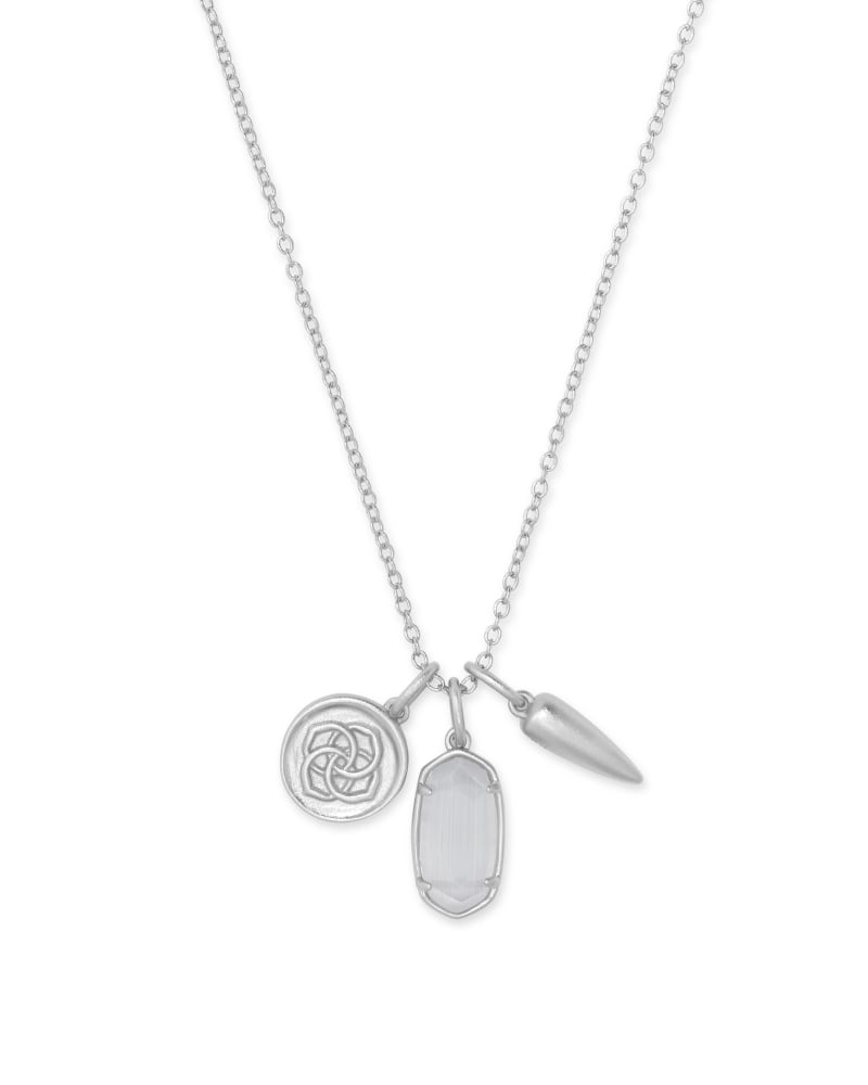 Dira Silver Coin Charm Necklace in Slate Cats Eye Glass