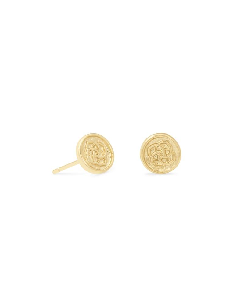 Dira Coin Stud Earrings in Gold