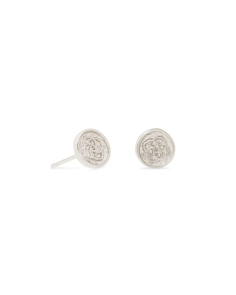 Dira Coin Stud Earrings in Silver