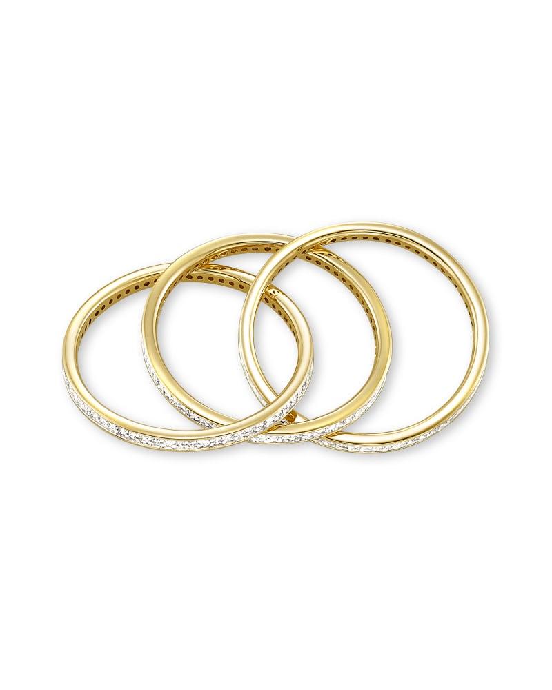 Jordyn 14K Yellow Gold Triple Band Ring in White Diamond