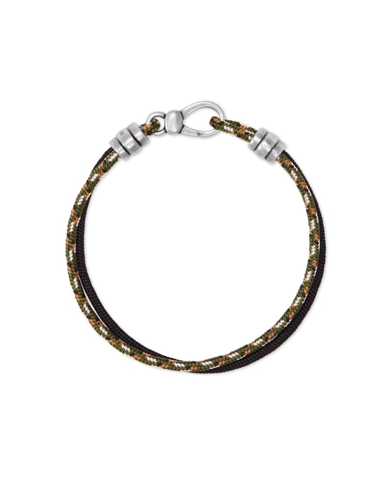 Kenneth Oxidized Sterling Silver Corded Bracelet in Olive and Black Mix