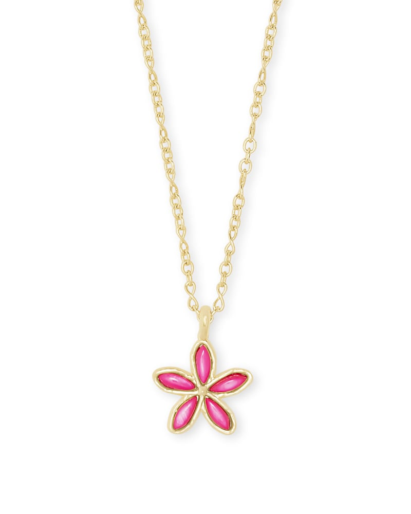 Kyla Flower Gold Pendant Necklace in Raspberry Mother of Pearl