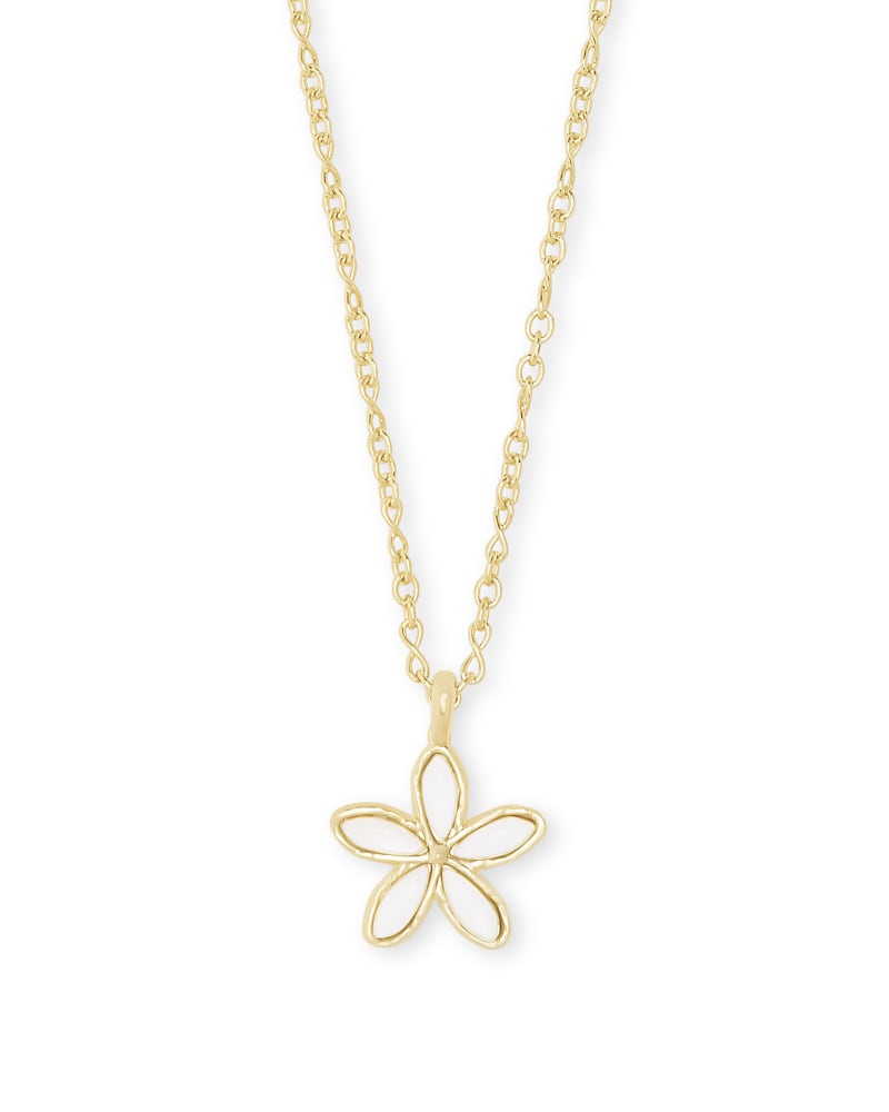 Kyla Flower Gold Pendant Necklace in White Mother of Pearl