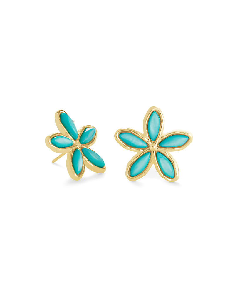 Kyla Flower Gold Stud Earrings in Teal Mother of Pearl