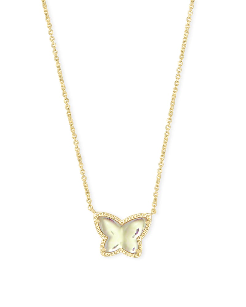 Lillia Butterfly Gold Pendant Necklace in Dichroic Glass