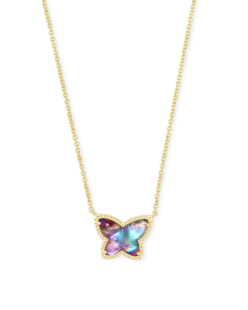 Lillia Butterfly Gold Pendant Necklace in Lilac Abalone