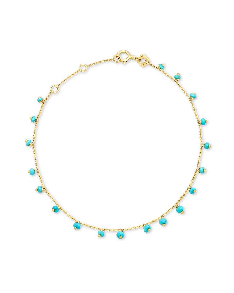Miranda 14k Yellow Gold Delicate Bracelet in Turquoise