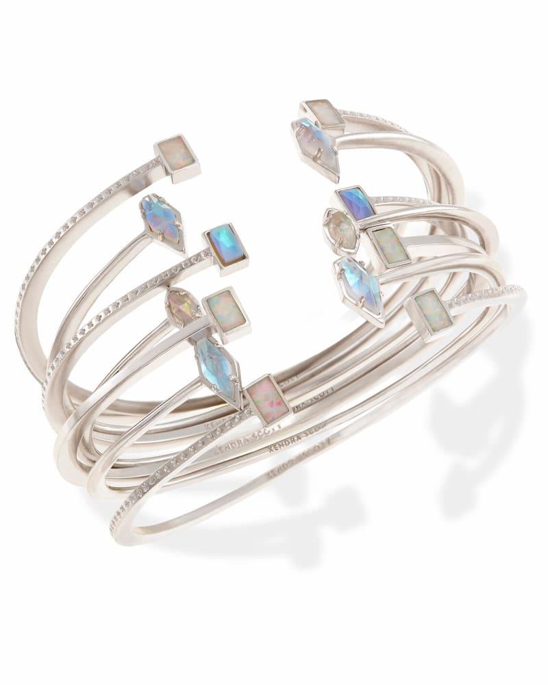 Kinsley Silver Bangle Bracelet Set in Escape